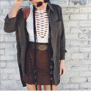LF Brown Suede Lace Up Skirt