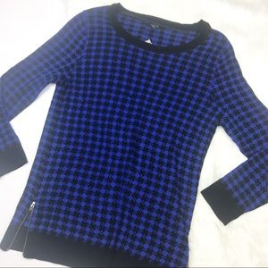 NWT! Blue & Black Knit with Edgy Zipper Detail Top