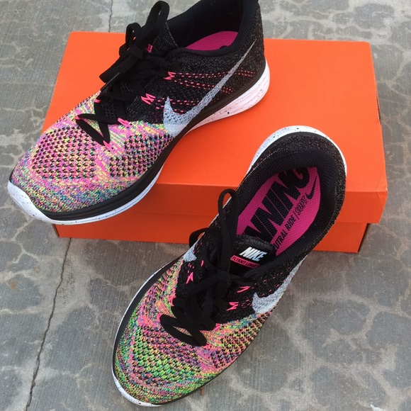 new arrival 32a6f 5db86 Nike lunar 3 multicolor rainbow flyknit pink neon.  M 5a2af08736d594d13b03727b