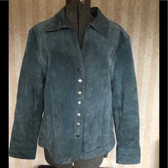 C. J. Banks Jackets & Blazers - C.J.Banks light blue suede coat.