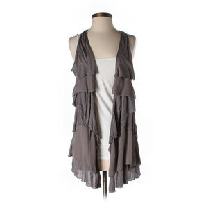 Free People Layered Ruffle Open Front Tunic Vest