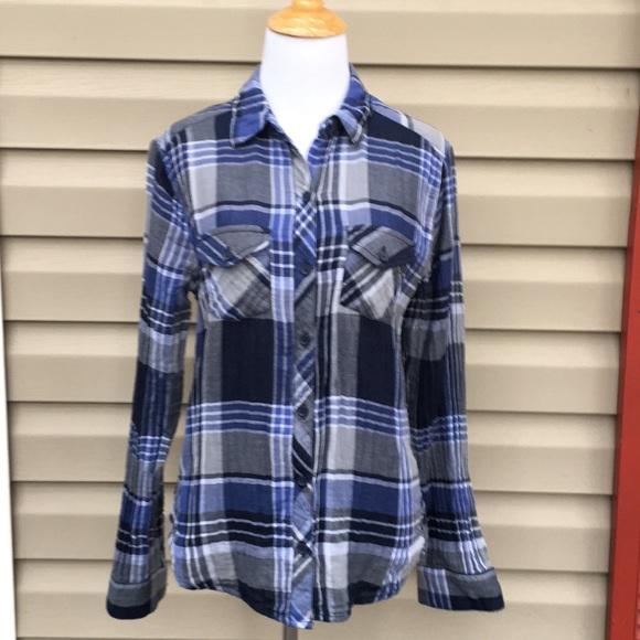 397bd647 BLL new york Tops - BLL New York women's long sleeve blue plaid shirt