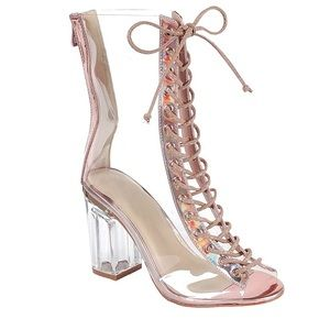 Shoes - New-Open Toe Block Chunky Clear Heel Ankle Boot
