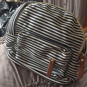 Blue and White Stripe Mini Backpack