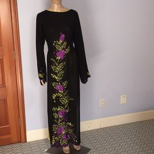 Dresses & Skirts - Embroidered Black Chiffon Tunic Dress with Pants