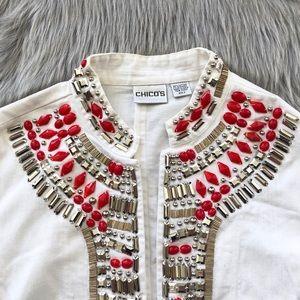 Chico's / White Beaded Jean Jacket