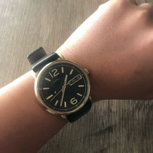Marc Jacobs gold and black leather watch