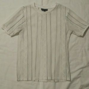 Topshop perforated white and black top