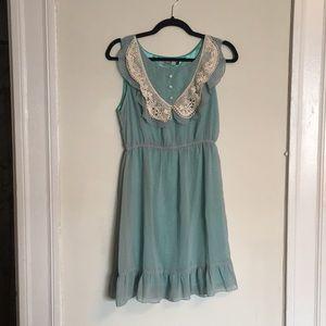Collared Polka Dot Babydoll Dress