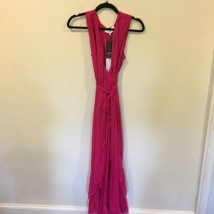 NWT WAYF pink wrap maxi dress