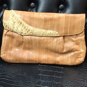 Eel and snakeskin clutch