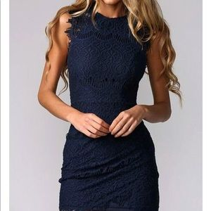 Tory Burch Merida Navy Blue Floral Lace Dress