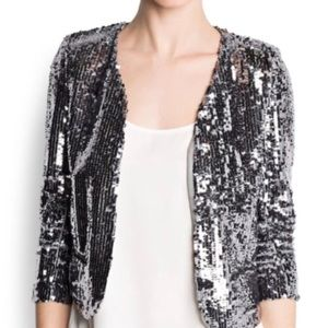 NWT MNG Silver Sequin Blazer XXS (Fits Small)