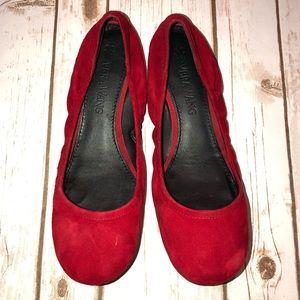 Vera Wang Red Suede Ballerina Flat