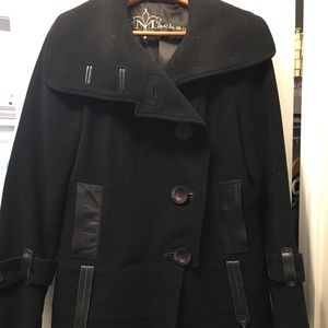 Mackage black wool coat with shawl collar