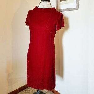 1960s Red Velvet Party Dress