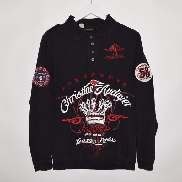 8461a76ceb Christian Audigier Other - Christian Audigier Garage Parts Biker Polo Shirt