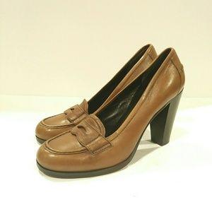 Miu miu brown loafer heel shoes