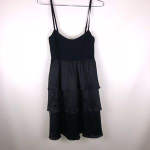 Theory black silk ruffle dress size medium