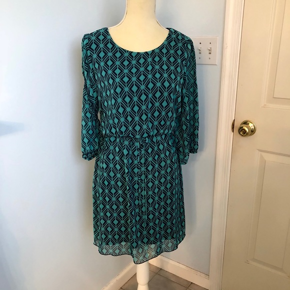 Dresses & Skirts - Teal and black open sleeve dress