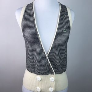 Lacoste Womens Sweater Vest Striped Sz 4 AT26