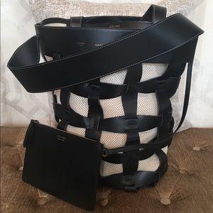 Celine Holdall Black Beige Leather Cutout Tote