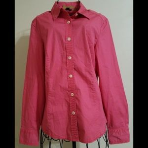 Boden Blouse Pink Button Front Long Sleeve