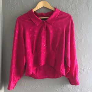 Beautiful Vintage Fuschia Silk Blouse