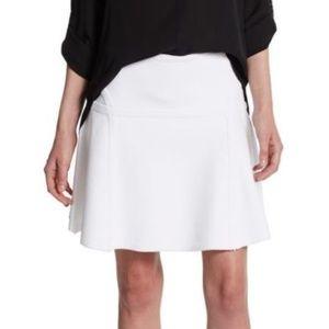 DVFFlote White Stretch Knitted Flared Skate Skirt