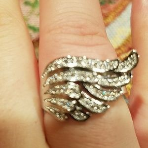 Jewelry - New silver filled stamped crystal angel ring