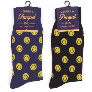 Other - NWT Novelty Crew Socks Smiley Face in Blk or Navy