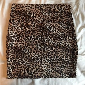 Leopard print, body con mini skirt from wet seal