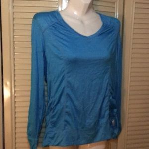 Blue tangerine workout fitted top - large