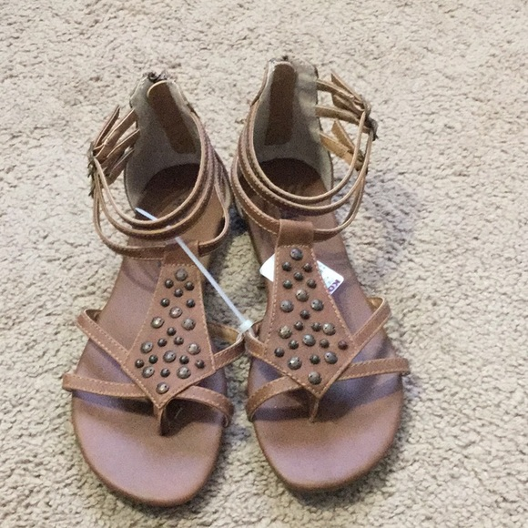 bc4f0bed5c4 Muddy Brown Studded Sandals NWT