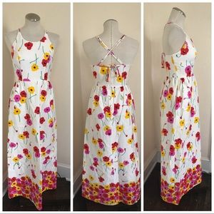Vintage crisscross back floral maxi dress