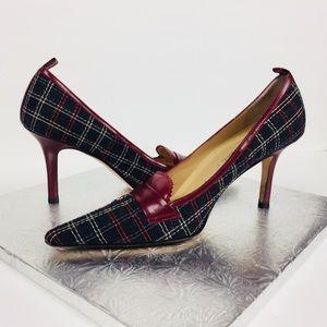 Ellen Tracy Size 7 M Plaid Pointy Toe Heels