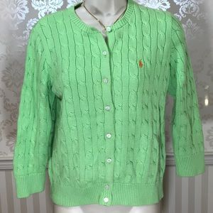 Ralph Lauren Lime Green Cable Cardigan Sweater
