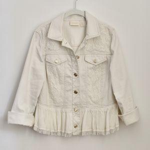 Chico's White Denim Jacket with Lace Trim