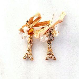 Jewelry - NEW Paris Eiffel Tower CZ Crystal dangle earrings