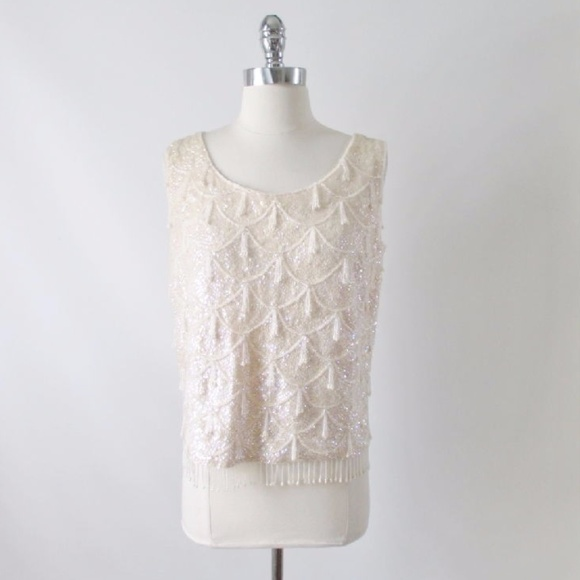 f8e4dbf46a17d Vintage 50 s 60 s Beaded Sequins Shell Tank Top L.  M 5a2b0ff94225bee6f10411dc