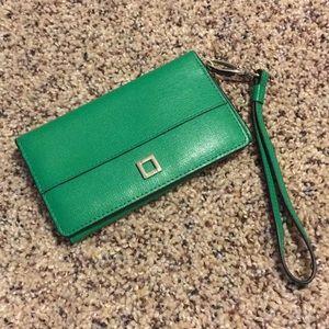 Green Lodis wallet / wristlet / phone holder