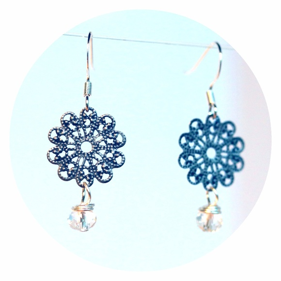 6Hill Jewelry | Floral Drop Earrings With Wirewrapped Crystals ...