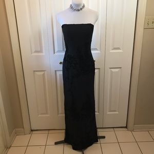 Adrianna Papell Evening Gown Black Embossed Sparkl