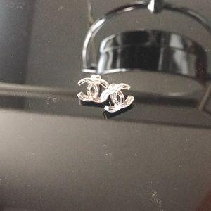 Authentic Chanel baguette CC earrings