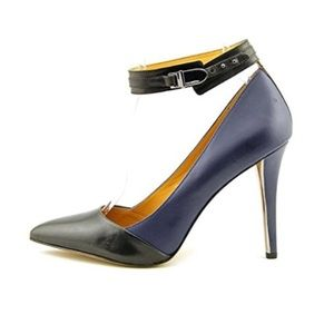 Coach navy and black leather heels w/ ankle strap