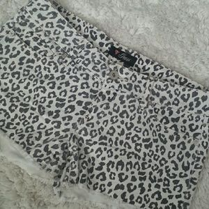 Guess white denim cheetah print shorts