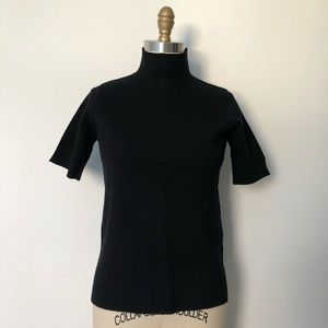 Black short sleeve turtleneck sweater