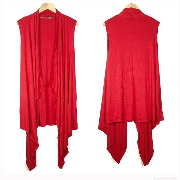 Red Waterfall Cardigan Vest from Kim's closet on Poshmark