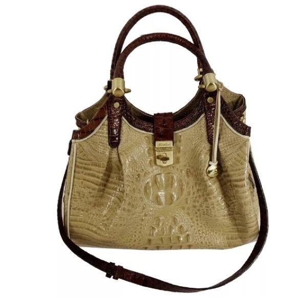 462d36747701 BRAHMIN ELISA HOBO HANDBAG Croc Leather Tan Brown