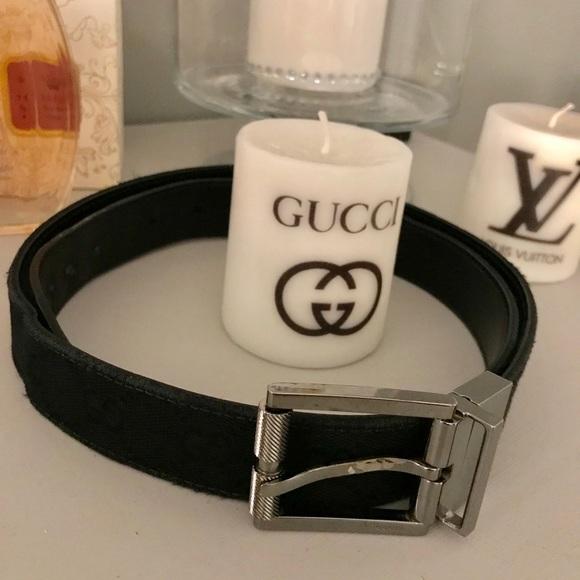 c703d56fa05 Gucci Accessories - Gucci black logo belt GG silver buckle 85 - 34